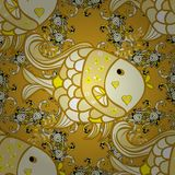 Vector illustration texture. Drawn cartoon fish seamless pattern, nautical vector background. Abstract yellow fish in a row on a yellow background, repeating Stock Photo