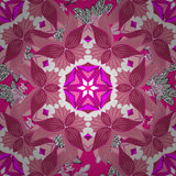Vector illustration texture. Pink background with mandalas and flowers. Vector Royalty Free Stock Image