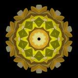 Vector illustration texture. Yellow mandala on black background. Vector illustration Royalty Free Stock Images