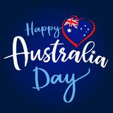 Happy Australia Day lettering and flag in heart greeting card. Vector illustration for 26th january Australia day lettering banner background with national flag Stock Illustration