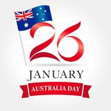 26 January Happy Australia day greeting card. Vector illustration for 26th january Australia day lettering banner with national flag and text Stock Image