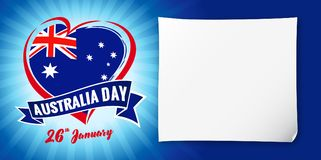 Australia day 26 January, flag and heart blue banner. Vector illustration for 26th january Happy Australia day lettering banner with heart national flag and text Stock Illustration