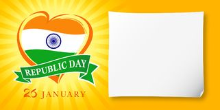 Republic Day Idia, 26 January greeting banner. Vector illustration for 26th january Republic Day Idia lettering banner with heart national flag and text on Royalty Free Stock Photo