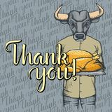 Vector illustration of Thanksgiving bull concept Stock Photo