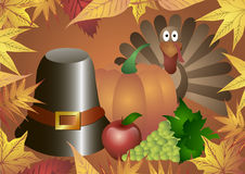 Vector illustration. Thanksgiving Day. Hat, pumpkin, turkey, apples and grapes in frame of autumn leaves. Stock Images
