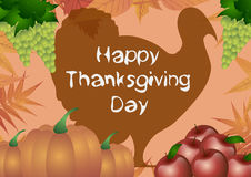 Vector illustration. Thanksgiving Day. Turkey, autumn leafs, apples, grape, and pumpkins on orange background. Stock Image