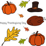 Vector illustration of Thanksgiving icons Stock Images