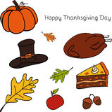 Vector illustration of Thanksgiving icons Royalty Free Stock Images