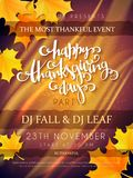 Vector illustration of thanksgiving party poster with hand lettering label - happy thanksgiving day- with yellow autumn. Leaves Royalty Free Stock Images