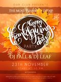 Vector illustration of thanksgiving party poster with hand lettering label - happy thanksgiving day- with autumn doodle Royalty Free Stock Photos
