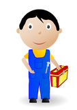 Vector Illustration The Boy With The Tool Stock Photography