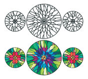 Flower stained glass ornaments vector illustration Royalty Free Stock Photos