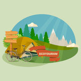 Vector illustration with theme of Hiking and camping. Stock Photo