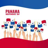 Independence Day of Panama. Vector Illustration on the theme Independence Day of Panama. Hands with Panama flags stock illustration