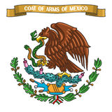 Vector illustration on theme Mexican Coat of Arms. Heraldic shield on national state emblem and symbol of Mexico - golden eagle, on ribbon title text: coat of Stock Images
