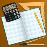 Vector illustration on the theme of school. Notebook, pencil, calculator, ruler and compass laid on the table. Royalty Free Stock Image