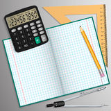 Vector illustration on the theme of school. Notebook, pencil, calculator, ruler and compass laid on the table. Stock Image