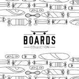Vector illustration on the theme of skateboard and skateboarding. Skateboard and skateboarding collection background with skateboards Stock Images