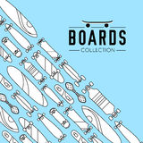 Vector illustration on the theme of skateboard and skateboarding. Skateboard and skateboarding collection background with skateboards Royalty Free Stock Images