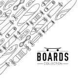 Vector illustration on the theme of skateboard and skateboarding. Skateboard and skateboarding collection background with skateboards Royalty Free Stock Photos