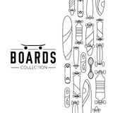 Vector illustration on the theme of skateboard and skateboarding. Skateboard and skateboarding collection background with skateboards Stock Photo