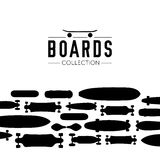Vector illustration on the theme of skateboard and skateboarding. Skateboard and skateboarding collection background with skateboards Royalty Free Stock Photography