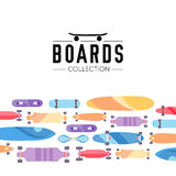 Vector illustration on the theme of skateboard and skateboarding. Skateboard and skateboarding collection background with skateboards Stock Photos