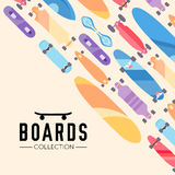 Vector illustration on the theme of skateboard and skateboarding. Skateboard and skateboarding collection background with skateboards Royalty Free Stock Photo