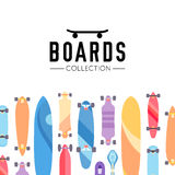 Vector illustration on the theme of skateboard and skateboarding. Skateboard and skateboarding collection background with skateboards Royalty Free Stock Image