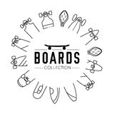 Vector illustration on the theme of skateboard and skateboarding Stock Photos