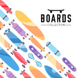 Vector illustration on the theme of skateboard and skateboarding. Skateboard and skateboarding collection background with skateboards Stock Photography