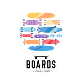 Vector illustration on the theme of skateboard and skateboarding. Skateboard and skateboarding collection background with skateboards located on a circle Stock Photography
