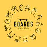 Vector illustration on the theme of skateboard and skateboarding. Skateboard and skateboarding collection background with skateboards located on a circle Royalty Free Stock Photo