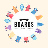 Vector illustration on the theme of skateboard and skateboarding. Skateboard and skateboarding collection background with skateboards located on a circle Stock Photo