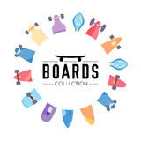 Vector illustration on the theme of skateboard and skateboarding. Skateboard and skateboarding collection background with skateboards located on a circle Stock Image