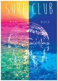 Vector illustration on the theme of surf. And surf club miami Grunge background. Vintage design. Typography; t-shirt graphics; print; poster; banner; flyer Royalty Free Stock Image