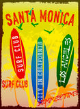 Vector illustration on the theme of surf and surf club Santa Monica Stock Images