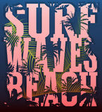 Vector illustration on the theme of surf and surfing. Grunge bac Royalty Free Stock Photos