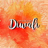 Vector illustration on the theme of the traditional celebration happy diwali. curls and watercolor spot with the. Inscription. Deepavali light and fire festival Stock Photos