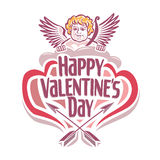 Vector illustration on the theme of Valentine's day with Cupidon Stock Images