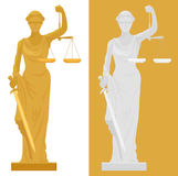 Vector illustration of Themis Femida statue in two color styles. Stock Image