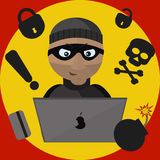 Vector Illustration of Thief with Laptop Stock Photo