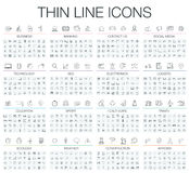Vector illustration of thin line black and white icons set Royalty Free Stock Photography