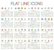 Vector illustration of thin line color icons Royalty Free Stock Photography