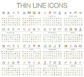 Vector illustration of thin line color icons Stock Photo