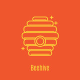 Vector illustration of thin line icon beehive. For medicine, apitherapy, beekeeping products, cosmetics, soap. Linear symbol Stock Image