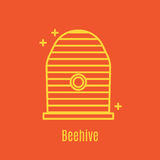 Vector illustration of thin line icon beehive. For medicine, apitherapy, beekeeping products, cosmetics, soap. Linear symbol Stock Photos