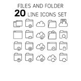 Vector illustration of thin line icons for files and folders. Royalty Free Stock Photography
