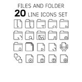 Vector illustration of thin line icons for files and folders. Vector illustration of thin line icons for file and folder Linear symbols set 64x64 pixels Stock Images
