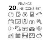 Vector illustration of thin line icons for finance. Vector illustration of thin line icons for finance Linear symbols set 64x64 pixel Stock Photo